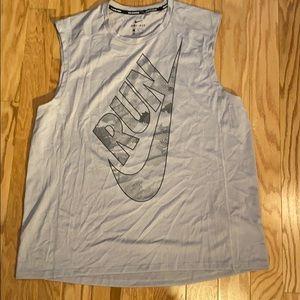 Nike running Dri-Fit in sleeveless shirt in grey